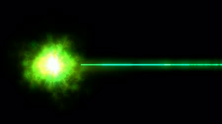 green rays laser weapon. Stock mozgókép