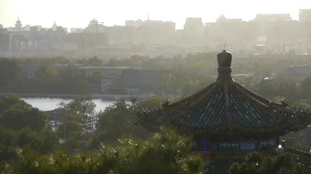 peking : Fog dust haze cover Beijing pavilion & metropolis high rise buildings urban.