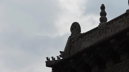 saçak : sculpture on roof eaves,China ancient architecture.Chinese stone Memorial arch.