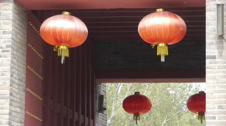 great wall of china : Chinese lanterns.Ancient city Great Wall gate.Historic walls. Stock Footage