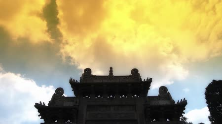altocumulus : China stone arch building & ancient city gate.movement of clouds.