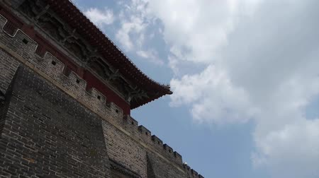 saçak : Great Wall & stone battlement,ancient DaiMiao city gate.Blue sky Cloud.