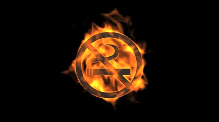 interdiction : flame no smoking symbol.