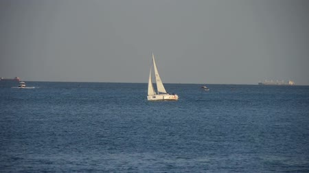 speedboats : Sailboat,yachts sailing in sea.water surface travel tourism.