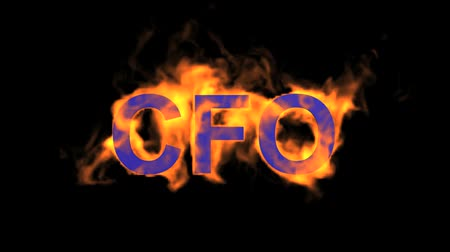 engulfed : flame blue CFO word,fire text.