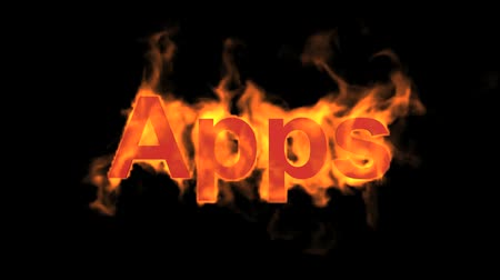 engulf : flame apps word,fire text. Stock Footage