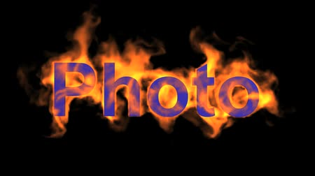 engulf : flame blue photo word,fire text. Stock Footage