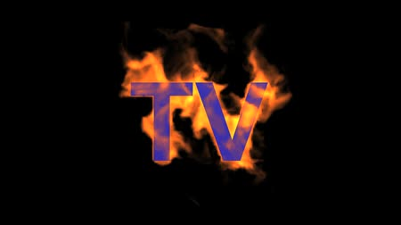 engulfed : flame blue TV word,fire text. Stock Footage