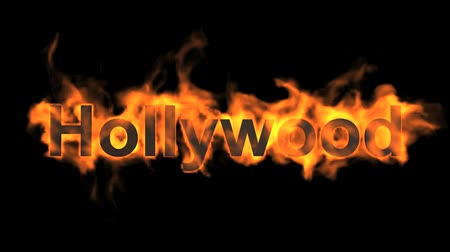 engulfed : flame hollywood word,fire text.