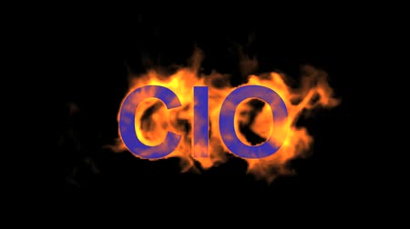 engulfed : flame blue CIO word,fire text. Stock Footage