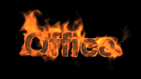 engulf : flame office word,fire text. Stock Footage