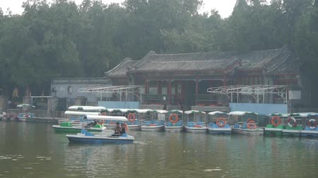 peking : cruise ship docks,yacht boats on lake.willow relying on river in Beijing Forbidden City.