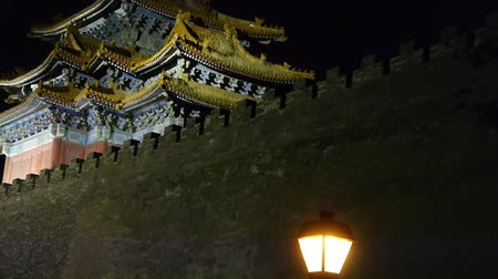 great wall of china : Panoramic of Beijing Forbidden City turret & street lights in night.Gorgeous palace.the Great Wall battlements.