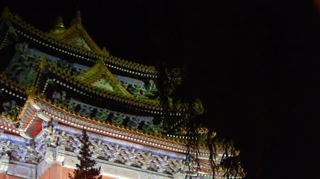 peking : Gorgeous palace.Panoramic of Beijing Forbidden City turret in night.the Great Wall brick battlements. Stock mozgókép
