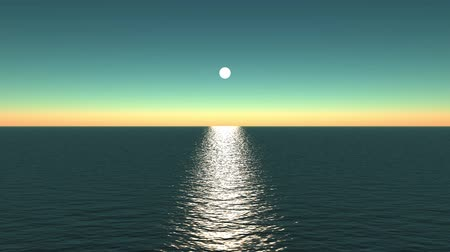 horizont : sun reflecting on ocean.