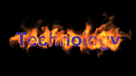 engulfed : flame blue technology word,fire text.