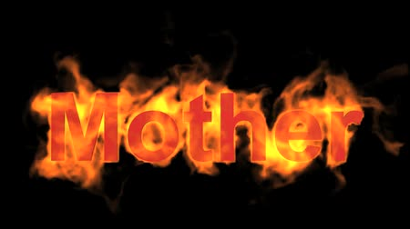 engulf : flame red mother word,fire text. Stock Footage