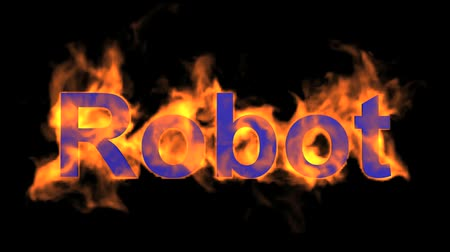 parlayan : flame blue robot word,fire text. Stok Video