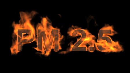 engulfed : flame PM2.5 word,fire text. Stock Footage