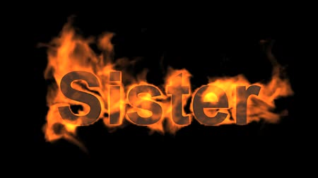 сестра : flame sister word,fire text. Стоковые видеозаписи