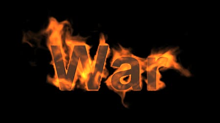 fission : fire blue war text,fire word. Stock Footage