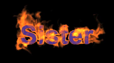 engulfed : flame sister word,fire text. Stock Footage