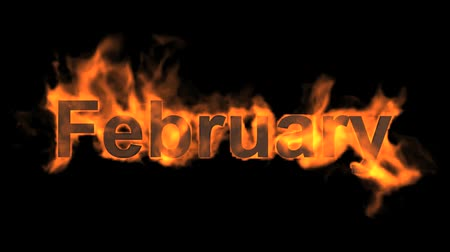 hó : flame february word,fire month text. Stock mozgókép
