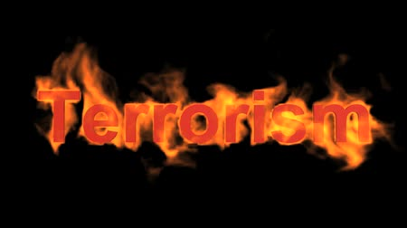 анти : burning terrorism word,fire text. Стоковые видеозаписи
