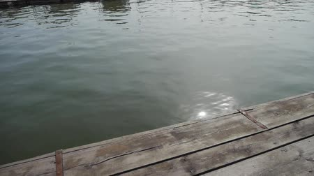 лесоматериалы : Ripples waves on lake & wood piers,sun light reflection in water.