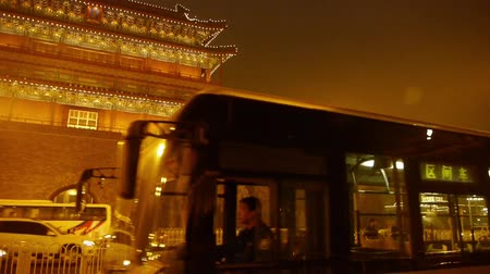 brickwall : Beijing ancient building night scene & busy traffic.