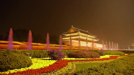 peking : Forbidden City in Beijing China,Tiananmen & fountain at night,national day.  Stock mozgókép