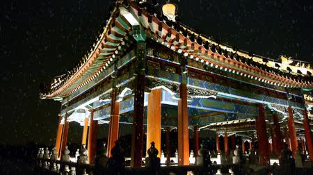 chinese culture : China Beijing ancient architecture pavilions & falling snow at night.