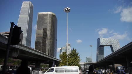 yaya köprüsü : business building district in Beijing China,busy traffic & crowded,timelapse.