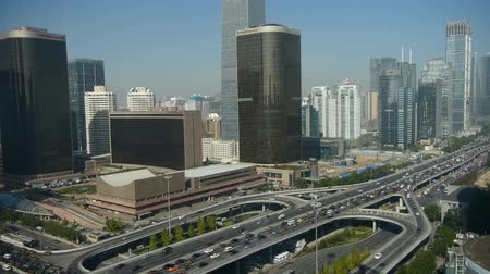 Пекин : Aerial view of overpass traffic at city,business building district China.