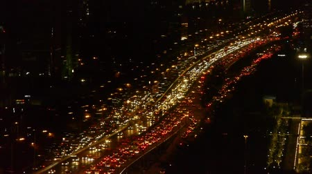 bottleneck : aerial night view of traffic pollution in an urban city,China. Stock Footage