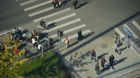 cruzamento : Aerial view of timelapse crosswalk & traffic at an urban city,zebra crossing.