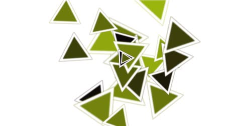 kübizm : green triangles card mosaics flying,abstract math geometry. Stok Video