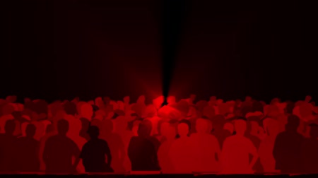 rocks red : cheering crowd,dance people & dazzling red music rays light at concert.
