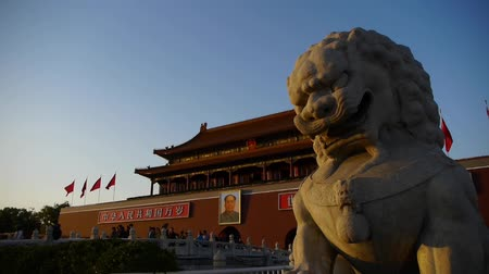 peking : ancient bronze lion in front of forbidden City at dusk,China Political center.