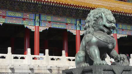 saray : bronze lion in front of Forbidden City,Chinas royal ancient architecture.