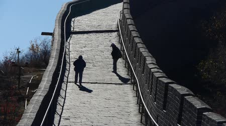 great wall of china : Tourists climbing Great wall, Chinas ancient defense