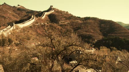 great wall of china : Great wall in dusk,China ancient defense engineering Stock Footage