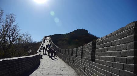great wall of china : tourist climbing Great wall,China ancient defense engineering