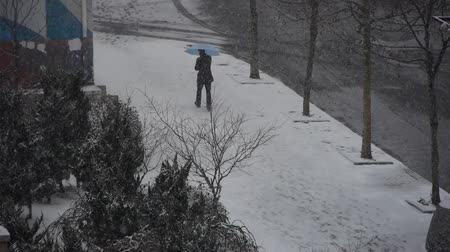 льдом : a man take umbrella walking on winter sidewalk,snowstorm. Стоковые видеозаписи