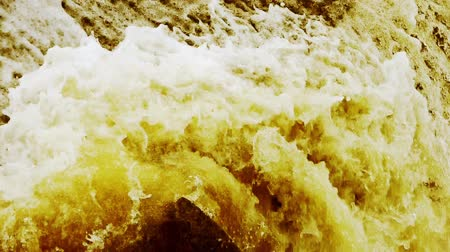 floods : flood discharge,torrential waterfall running,china yellow river. Stock Footage