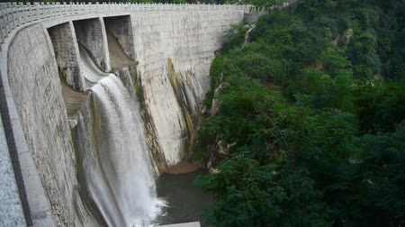 baraj : Torrential waterfall & spray from dam,Mountain Tai-shan.