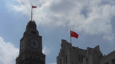 pilasters : Shanghai bund,old business town building & red flag.