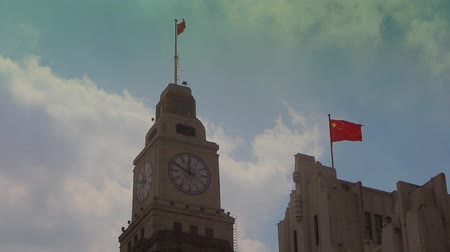 stare miasto : Shanghai bund,old business town building & red flag.