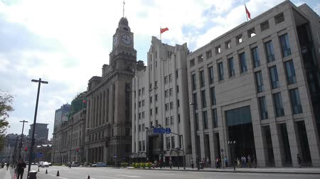 pilasters : panoramic of Shanghai bund,old business building.