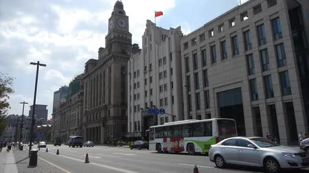 pilasters : Shanghai bund traffic,old business building.